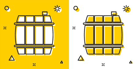Black Wooden barrel icon isolated on yellow and white background. Alcohol barrel, drink container, wooden keg for beer, whiskey, wine. Random dynamic shapes. Vector Illustration