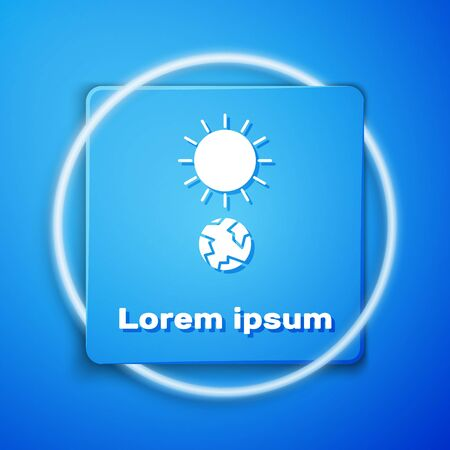 White Solstice icon isolated on blue background. Blue square button. Vector Illustration