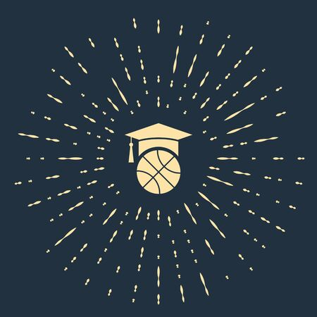 Beige Basketball training icon isolated on blue background. Abstract circle random dots. Vector Illustration Ilustração