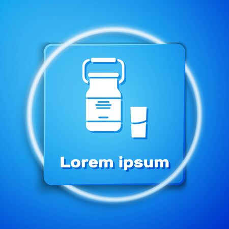 White Can container for milk and glass icon isolated on blue background. Blue square button. Vector Illustration