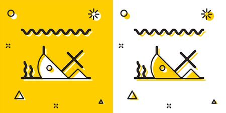 Black Sunken ship at the bottom of the sea icon isolated on yellow and white background. Random dynamic shapes. Vector Illustration Vectores