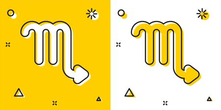 Black Scorpio zodiac sign icon isolated on yellow and white background. Astrological horoscope collection. Random dynamic shapes. Vector Illustration