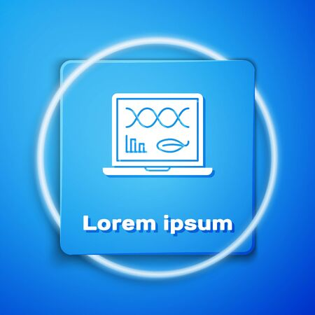 White Genetic engineering modification on laptop icon isolated on blue background. DNA analysis, genetics testing, cloning. Blue square button. Vector Illustration