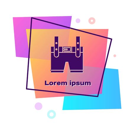 Purple Lederhosen icon isolated on white background. Traditional bavarian clothing. Oktoberfest outfit. Pants with suspenders. Patrick day. Color rectangle button. Vector Illustration