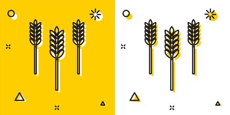 Black Cereals set with rice, wheat, corn, oats, rye, barley icon isolated on yellow and white background. Ears of wheat bread symbols. Random dynamic shapes. Vector Illustration