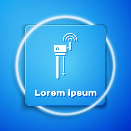 White Router and wi-fi signal symbol icon isolated on blue background. Wireless ethernet modem router. Computer technology internet. Blue square button. Vector Illustration