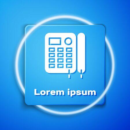 White Telephone icon isolated on blue background. Landline phone. Blue square button. Vector Illustration Foto de archivo - 137156204