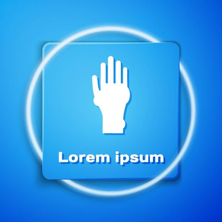 White Hand with psoriasis or eczema icon isolated on blue background. Concept of human skin response to allergen or chronic body problem. Blue square button. Vector Illustration