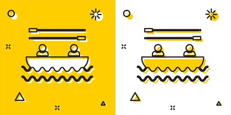 Black Boat with oars and people icon isolated on yellow and white background. Water sports, extreme sports, holiday, vacation, team building. Random dynamic shapes. Vector Illustration