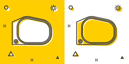 Black Car mirror icon isolated on yellow and white background. Random dynamic shapes. Vector Illustration