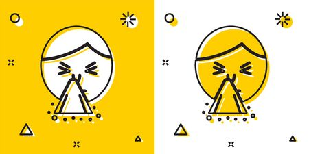Black Man holding handkerchief or napkin to his runny nose icon isolated on yellow and white background. Coryza desease symptoms. Random dynamic shapes. Vector Illustration