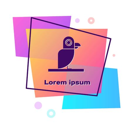 Purple Pirate parrot icon isolated on white background. Color rectangle button. Vector Illustration
