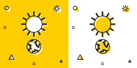 Black Solstice icon isolated on yellow and white background. Random dynamic shapes. Vector Illustration