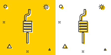Black Car muffler icon isolated on yellow and white background. Exhaust pipe. Random dynamic shapes. Vector Illustration