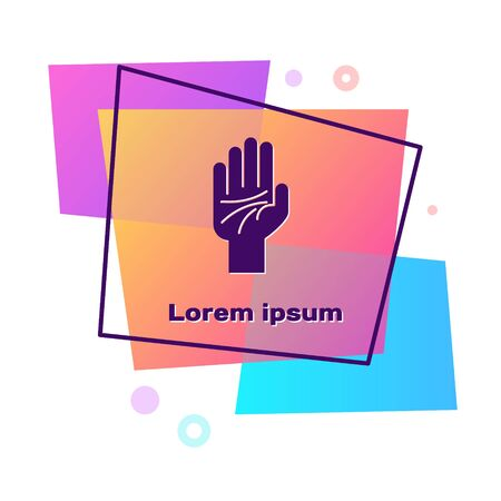 Purple Palmistry of the hand icon isolated on white background. Color rectangle button. Vector Illustration Illustration