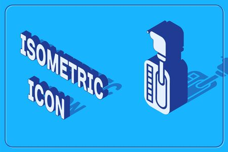 Isometric Gear shifter icon isolated on blue background. Transmission icon. Vector Illustration