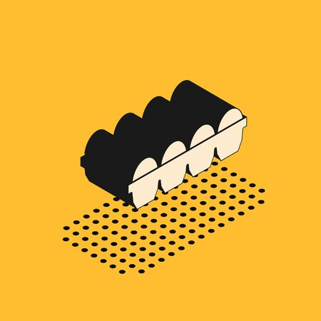 Isometric Chicken egg in box icon isolated on yellow background. Vector Illustration Ilustração