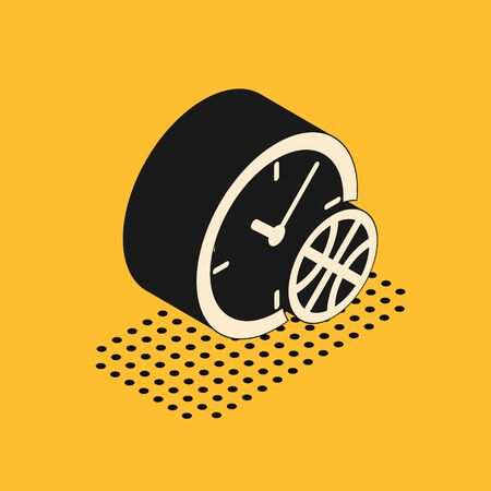 Isometric Clock with basketball ball inside icon isolated on yellow background. Basketball time. Sport and training. Vector Illustration