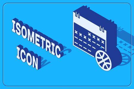 Isometric Basketball on sport calendar icon isolated on blue background. Vector Illustration Çizim