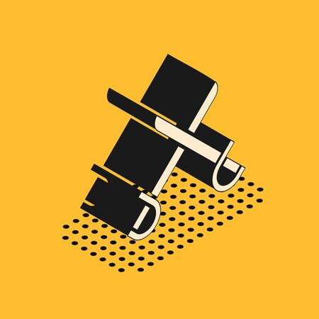 Isometric Crossed pirate swords icon isolated on yellow background. Sabre sign. Vector Illustration