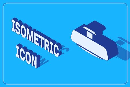 Isometric Car mirror icon isolated on blue background. Vector Illustration