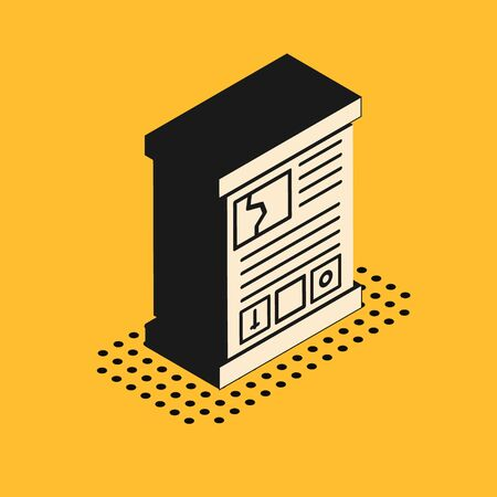 Isometric Game guide icon isolated on yellow background. User manual, instruction, guidebook, handbook. Vector Illustration Vectores