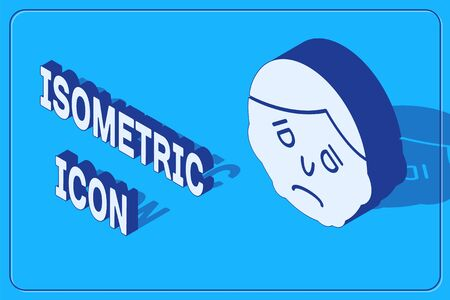 Isometric Inflammation on face icon isolated on blue background. Vector Illustration Archivio Fotografico - 137254059