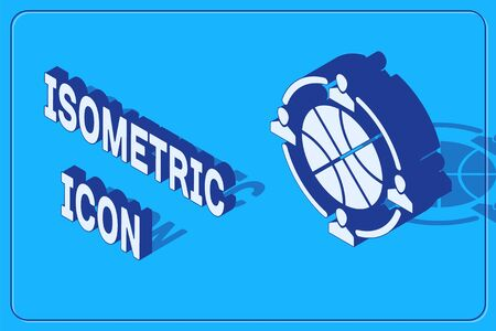 Isometric Clock with basketball ball inside icon isolated on blue background. Basketball time. Sport and training. Vector Illustration Çizim