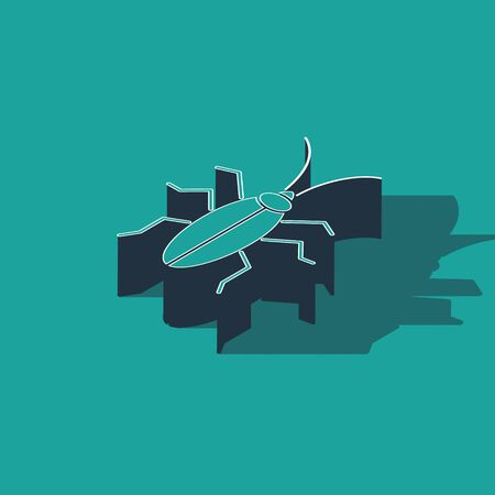 Isometric Cockroach icon isolated on green background. Vector Illustration Foto de archivo - 137736743