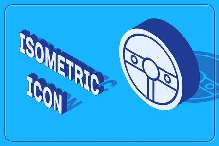 Isometric Steering wheel icon isolated on blue background. Car wheel icon. Vector Illustration
