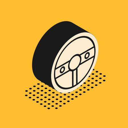 Isometric Steering wheel icon isolated on yellow background. Car wheel icon. Vector Illustration Stock Vector - 137735462