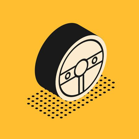 Isometric Steering wheel icon isolated on yellow background. Car wheel icon. Vector Illustration
