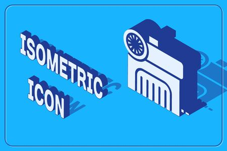 Isometric Air compressor icon isolated on blue background. Vector Illustration Banque d'images - 137735465