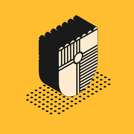 Isometric Shield for game icon isolated on yellow background. Vector Illustration Ilustrace