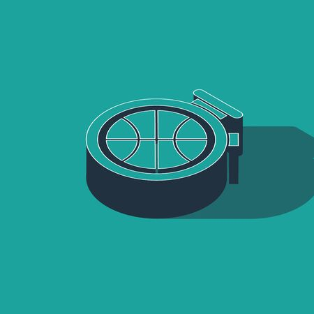 Isometric Stopwatch with basketball ball inside icon isolated on green background. Basketball time. Sport and training. Vector Illustration