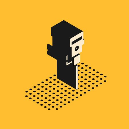 Isometric Construction jackhammer icon isolated on yellow background. Vector Illustration