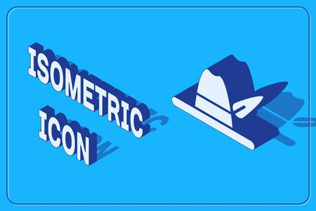 Isometric Oktoberfest hat icon isolated on blue background. Hunter hat with feather. German hat. Vector Illustration