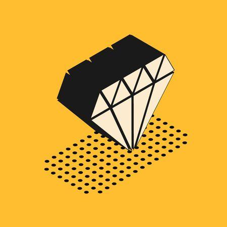 Isometric Diamond icon isolated on yellow background. Jewelry symbol. Gem stone. Vector Illustration