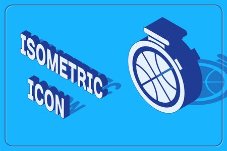 Isometric Stopwatch with basketball ball inside icon isolated on blue background. Basketball time. Sport and training. Vector Illustration