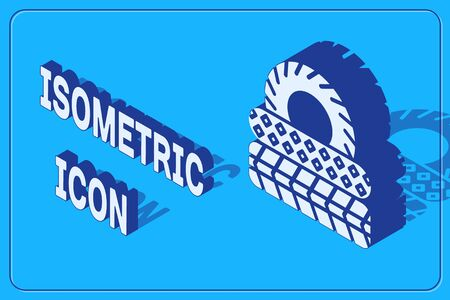 Isometric Car tire icon isolated on blue background. Vector Illustration