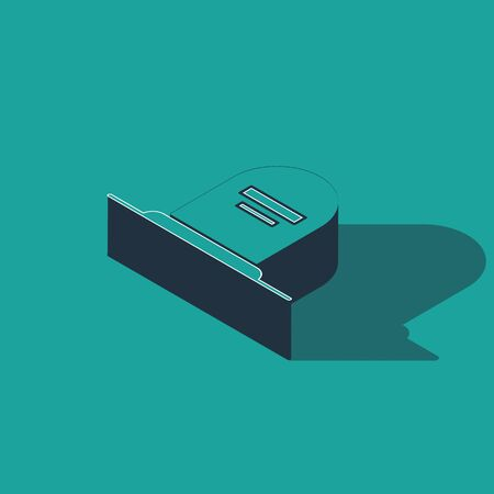 Isometric Tombstone with RIP written on it icon isolated on green background. Grave icon. Vector Illustration