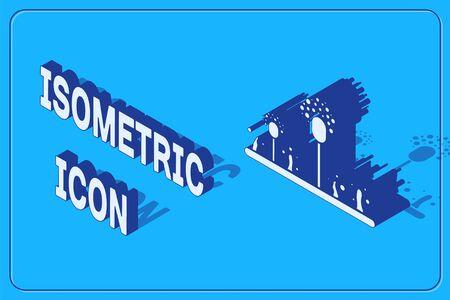 Isometric Mold icon isolated on blue background. Vector Illustration