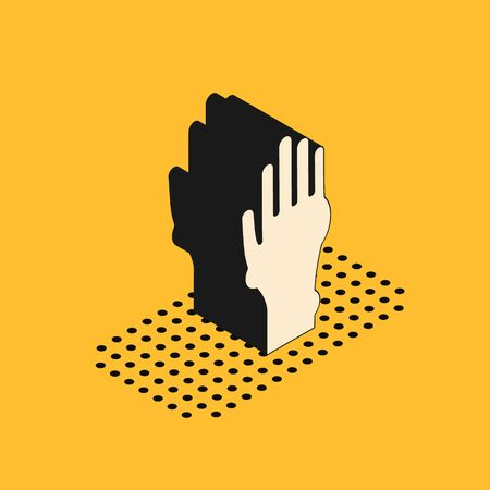 Isometric Hand with psoriasis or eczema icon isolated on yellow background. Concept of human skin response to allergen or chronic body problem. Vector Illustration Illustration
