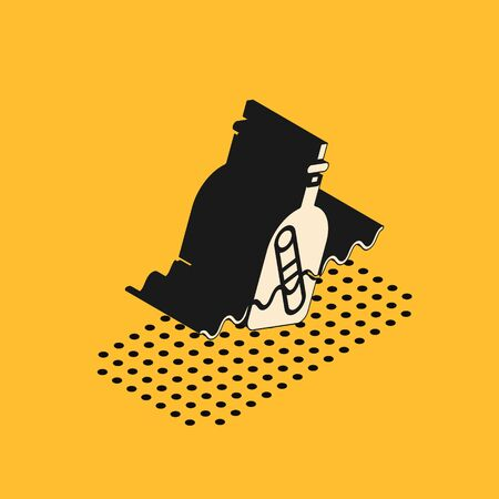 Isometric Glass bottle with a message in water icon isolated on yellow background. Letter in the bottle. Pirates symbol. Vector Illustration