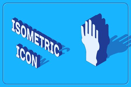 Isometric Hand with psoriasis or eczema icon isolated on blue background. Concept of human skin response to allergen or chronic body problem. Vector Illustration