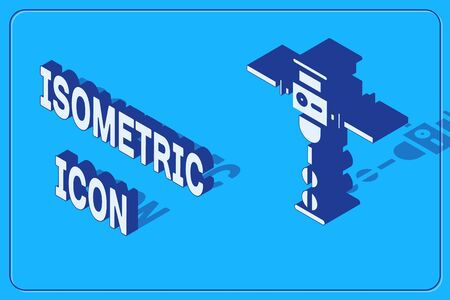 Isometric Construction jackhammer icon isolated on blue background. Vector Illustration