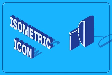 Isometric Windscreen wiper icon isolated on blue background. Vector Illustration Illustration