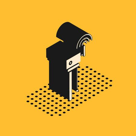Isometric Router and wi-fi signal symbol icon isolated on yellow background. Wireless ethernet modem router. Computer technology internet. Vector Illustration