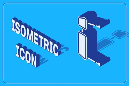 Isometric Truck side mirror icon isolated on blue background. Vector Illustration Ilustração