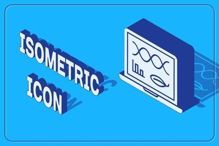 Isometric Genetic engineering modification on laptop icon isolated on blue background. DNA analysis, genetics testing, cloning. Vector Illustration